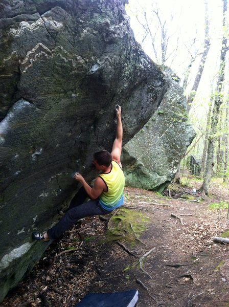 Rock Climbing Photo: First move to a cool crimp with an interesting thu...