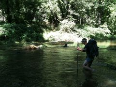Rock Climbing Photo: J.Peabody and Chaco toes deep in Oak Creek
