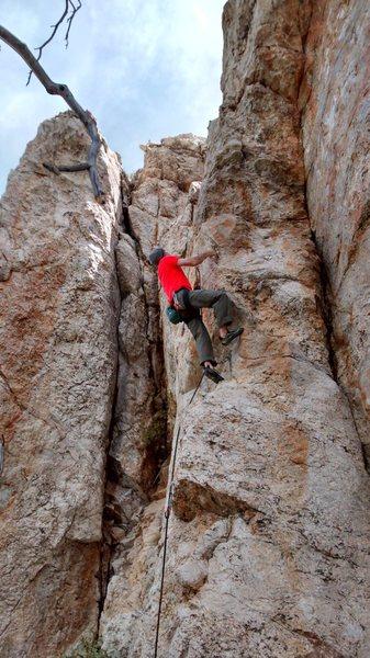 Rock Climbing Photo: Christian starting the crux