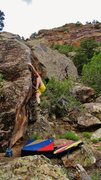 Rock Climbing Photo: At the crux of Ensoul. Trust the left foot smear a...
