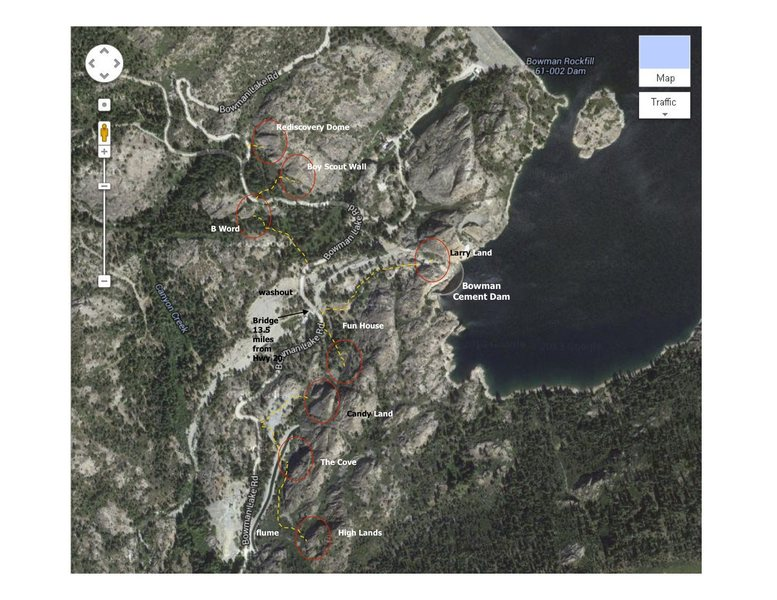 Bowman Lake, CA. Overview map.