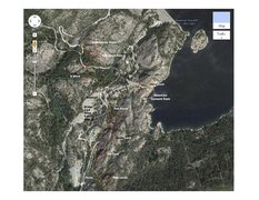 Rock Climbing Photo: Bowman Lake, CA. Overview map.