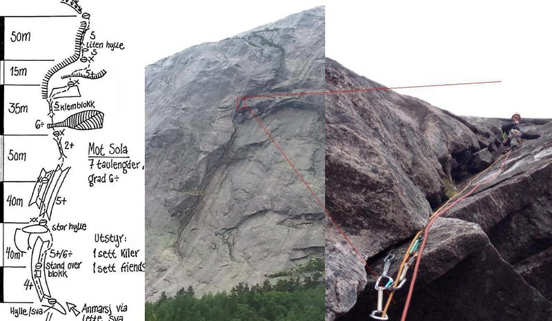 photos and topo for mot sola - one of haegfjells most iconic classic routes