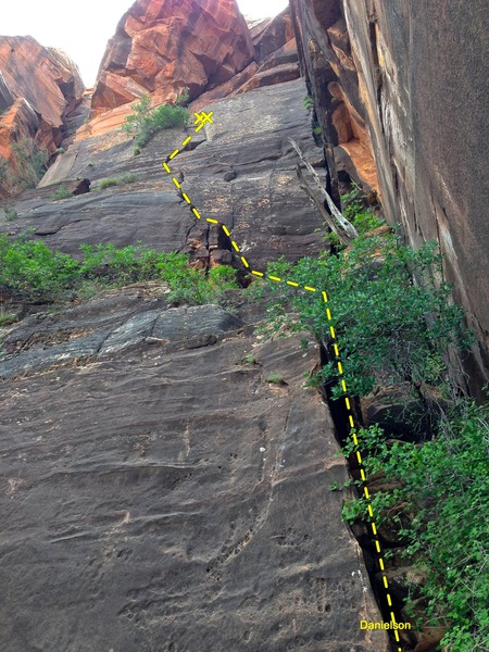 Rock Climbing Photo: Looking at the start for Danielson and Shadow Warr...