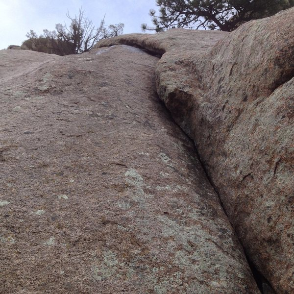 Rock Climbing Photo: The route as it appears from the ledge above the f...