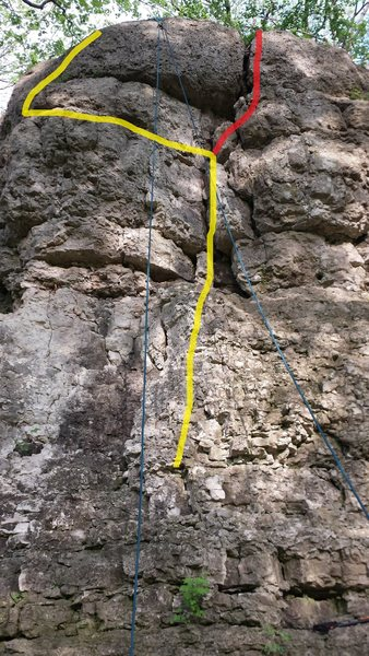 Rock Climbing Photo: Route in yellow, variation in red.