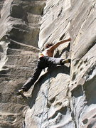 Rock Climbing Photo: Getting down on some stemming action