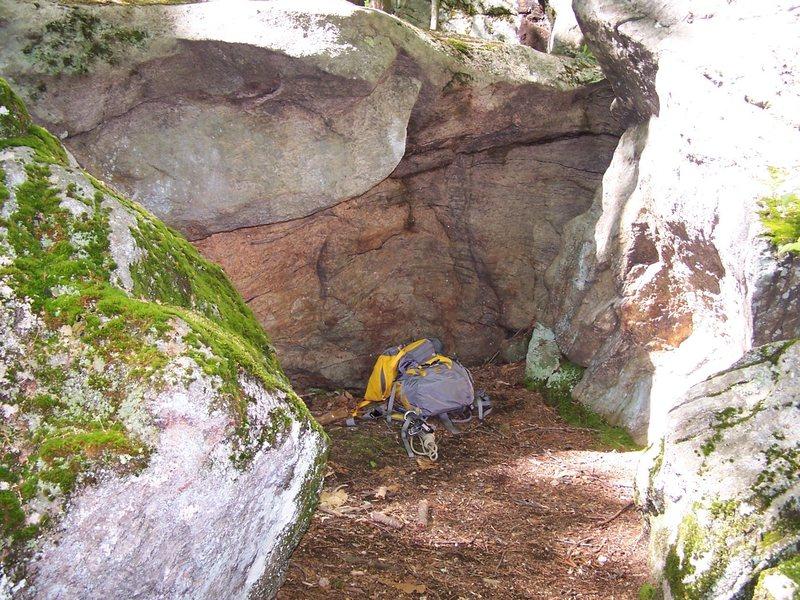 Here's a shot of the overhanging boulder.