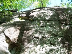 Rock Climbing Photo: Rope set up for TR solo on Peter's Pulpit. There's...