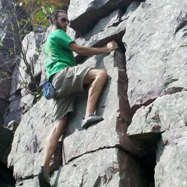 Rock Climbing Photo: Easy V0 with a scary landing: PG-13 if you fall to...