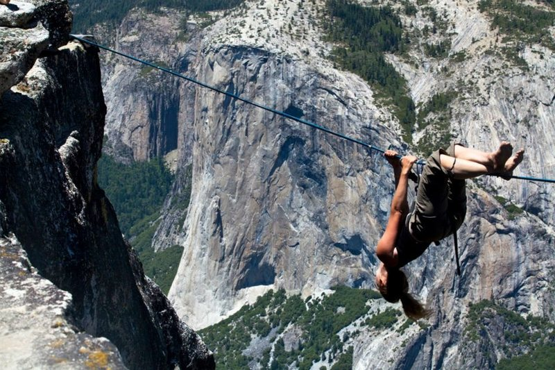 Rock Climbing Photo: taking a deep breath before another whipper over t...