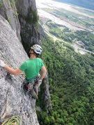 Rock Climbing Photo: The start of P1 after you clip the bolt and down c...