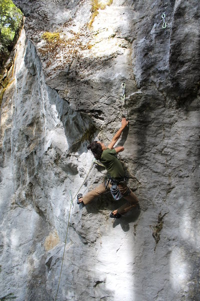 Christian crossing through below the crux.