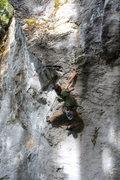 Rock Climbing Photo: Christian crossing through below the crux.