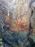 Rock Climbing Photo: Base beta photo.  Serial Driller: Green Driller On...