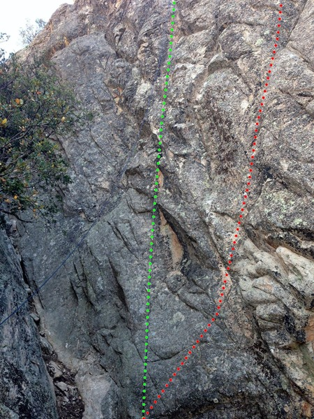 Rock Climbing Photo: Base beta photo.  Chain Lightning: Green Two Steps...