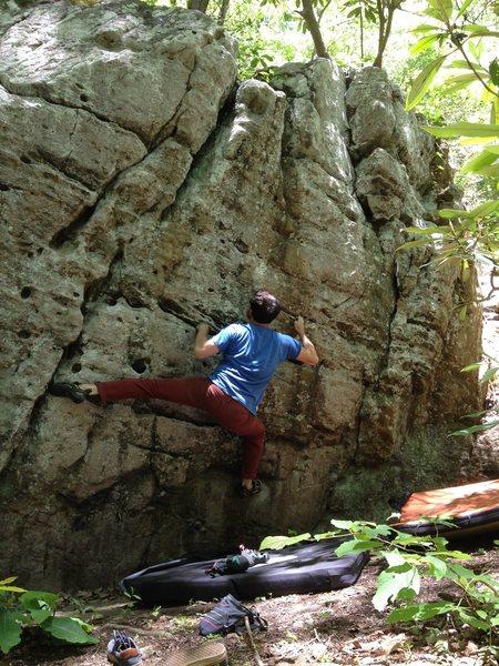Rock Climbing Photo: Long Division (v4), Empty Pockets Boulder, Upper B...