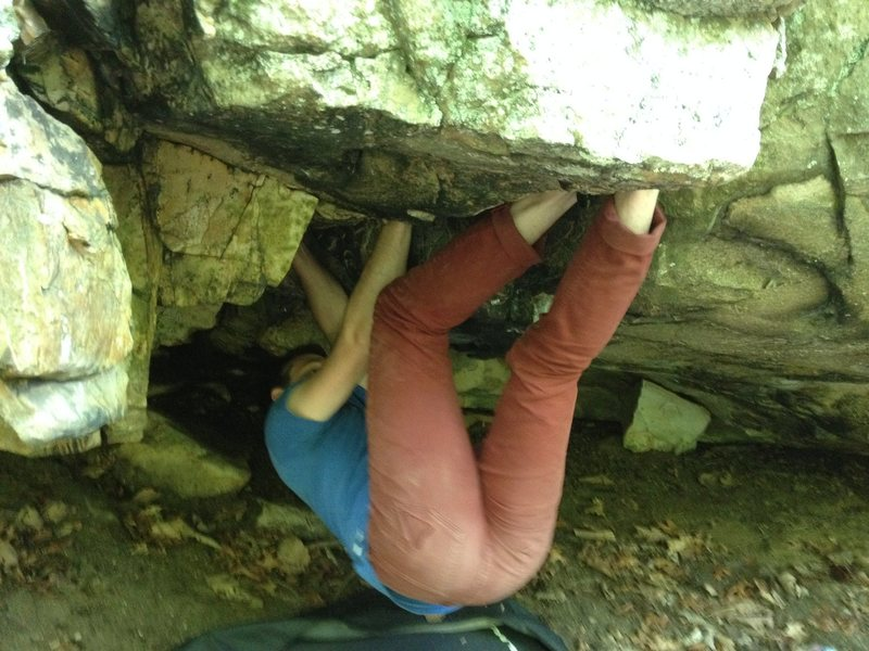 Tiny Roof Crack (v4-5), Shaky Knees Boulder, Highball Area