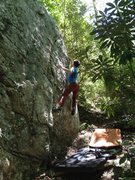 Rock Climbing Photo: Shell Station Swing (v4), Shaky Knees Boulder, Hig...
