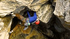 Rock Climbing Photo: Jack moving into the roof crux on Judgement Day, T...