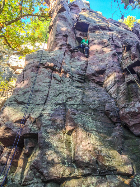 Rock Climbing Photo: Devils Lake, The Frigate, my attempt at The Can Ca...