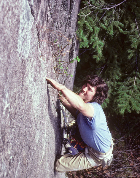 Wally Barker on Pressure Drop (11a). <br> Taken in 1980 - this may have been the second ascent.