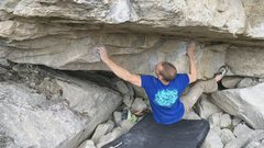 Rock Climbing Photo: Trevor sticking the opening move..
