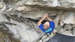 Rock Climbing Photo: Setting up for the second big move..