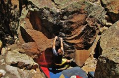 Rock Climbing Photo: Prepping for the crux on Quantum Thrust. Reach thi...