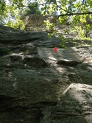 Rock Climbing Photo: Gaston P1.  Arrow shows location of first piece (g...