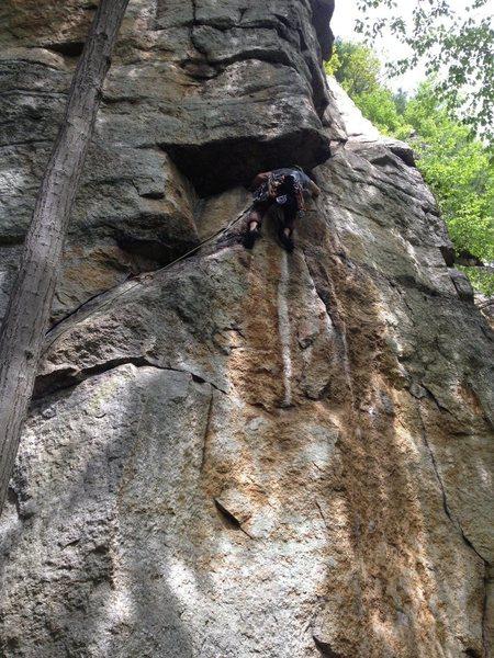 Rock Climbing Photo: Climber rounding the P1 crux