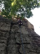Rock Climbing Photo: Aubrey running it out on the start of Patio Direct...