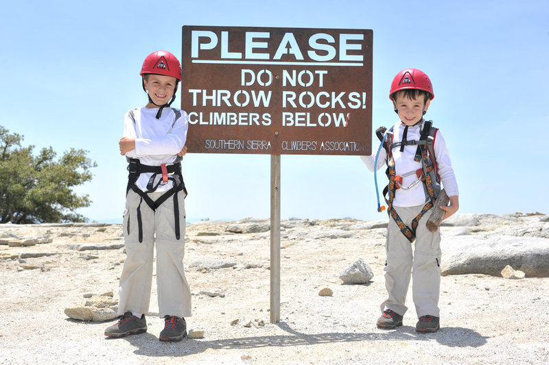 Bryson (7 years old) and Wesley (4 years old) pose atop Dome Rock after an awesome day of climbing.