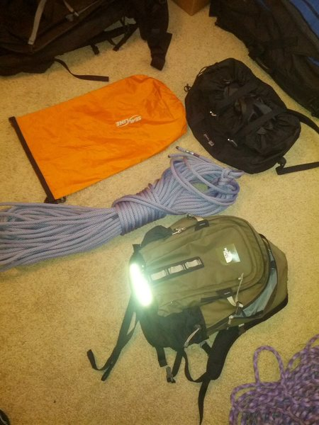 Mammut 60m 10.2mm Gravity Classic. 30 liter North Face Hot Shot backpack. Sealine 20 liter dry bag.