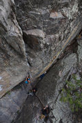 Rock Climbing Photo: Tom Wright starting up the Supremacy Crack.