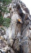 Rock Climbing Photo: Tricky arete slapping just above the crux.