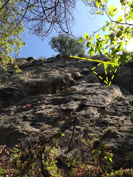 Rock Climbing Photo: The highlight of the climb is partly obscured by t...