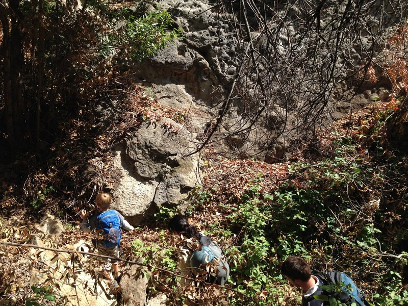 Rock Climbing Photo: Start at the first accessible nook as you walk und...