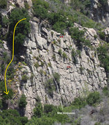 Rock Climbing Photo: A view of Wall 2, showing the rap stations and wal...