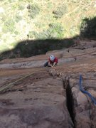 Rock Climbing Photo: This is the hand crack at the end of pitch 3 looki...