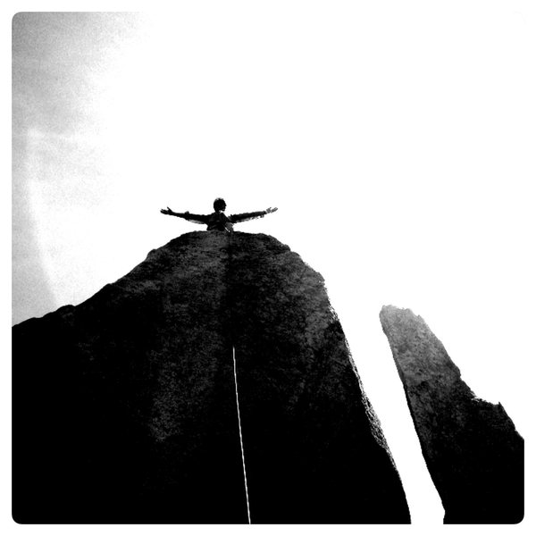 """Tyson busting the """"Christ Redeemer"""" pose atop the Steeple."""