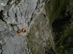 Rock Climbing Photo: Coming up the pitch 1 book  August 2013