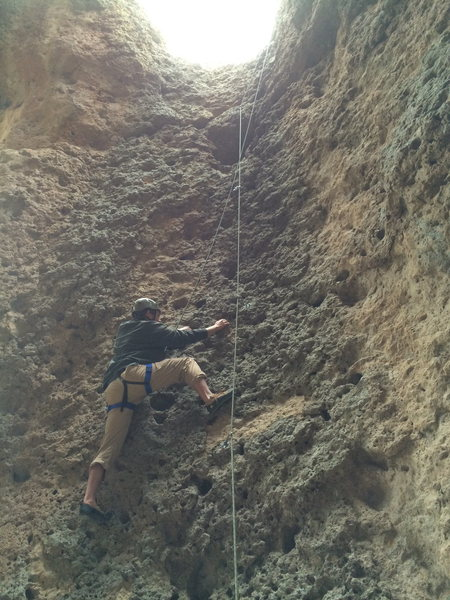 Me climbing Gravity Cavity on the giants molars.