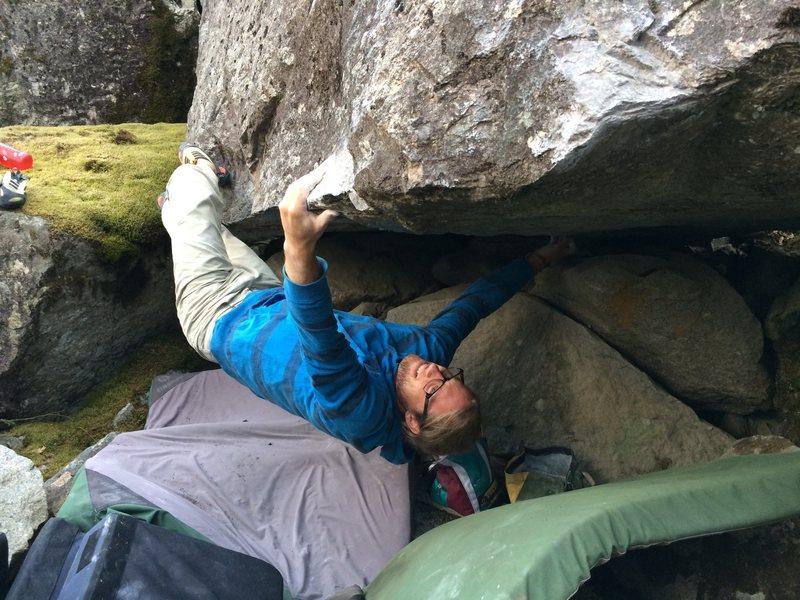Rock Climbing Photo: Jordon staring down the atomic fin..