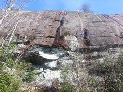 Rock Climbing Photo: The line in red.