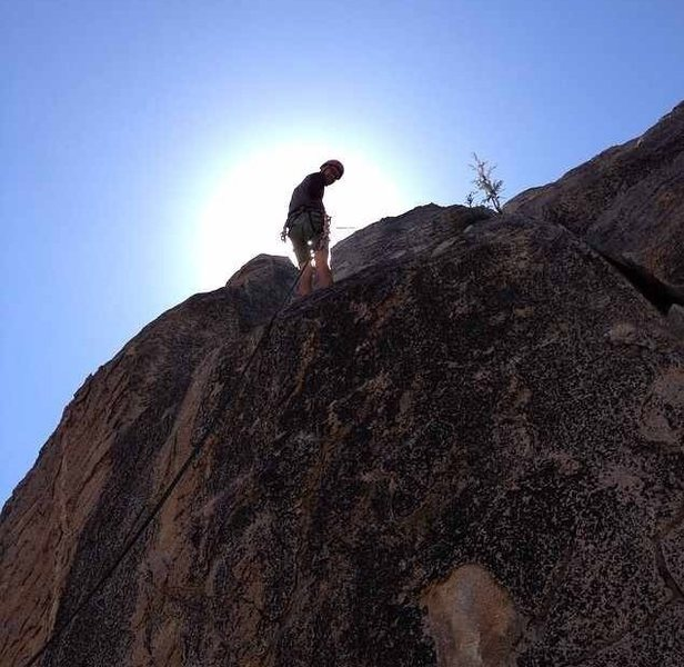 Rapping down after climbing Shantytown Swing(5.6) in Central Pinnacles.<br>