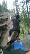 Rock Climbing Photo: Eric's funky beta on the Fin.