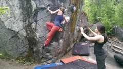Rock Climbing Photo: Pinching the undercling and moving up