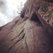 Rock Climbing Photo: Passing the crux on Super Pooper