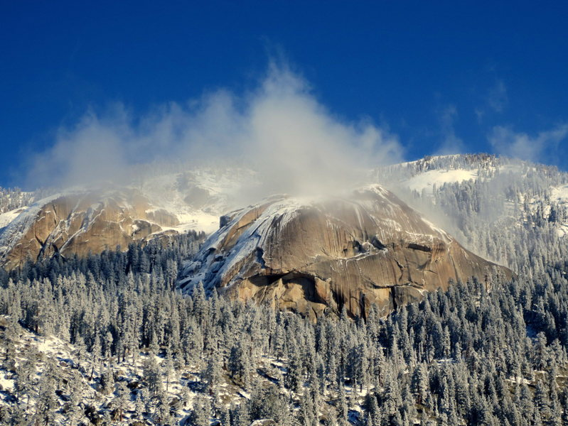 Santa Cruz and Lower Tokopah Domes as seen from the Watchtower in Winter